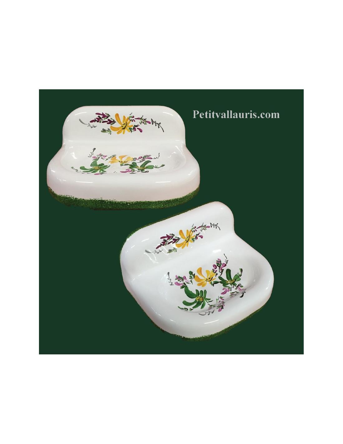 porte savon mod le mural d cor fleurs vertes et jaunes. Black Bedroom Furniture Sets. Home Design Ideas