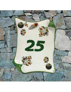 Plaque de Maison parchemin pose vertcale idécor fleurs inspiration vieux moustiers + cigale relief