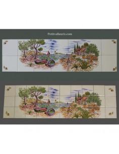 Fresque murale céramique décor Calanques et cabanon 30 x 105 cm