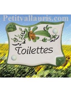 """Plaque de porte parchemin verte """"Toilettes"""""""