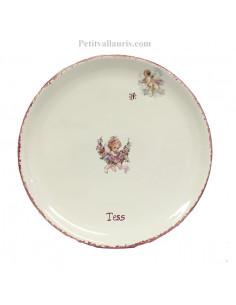 Assiette plate décor Chérubin inscription personnalisée