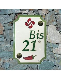 Plaque de Maison rectangle décor croix basque et piment d'espelette