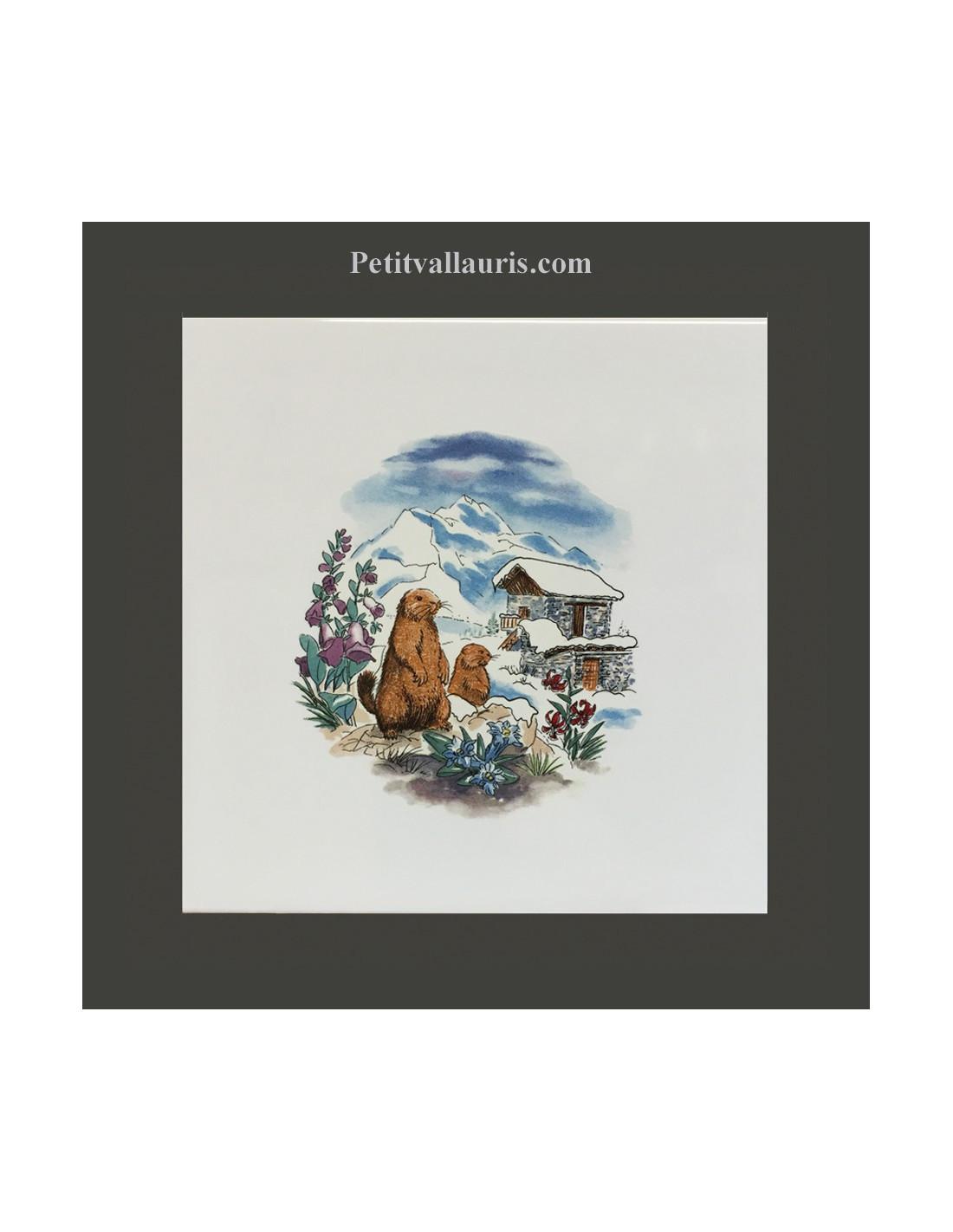Carreau d cor paysage hiver et refuge 10 x 10 et 15x15 cm - Refuge d hiver meuble et decoration ...