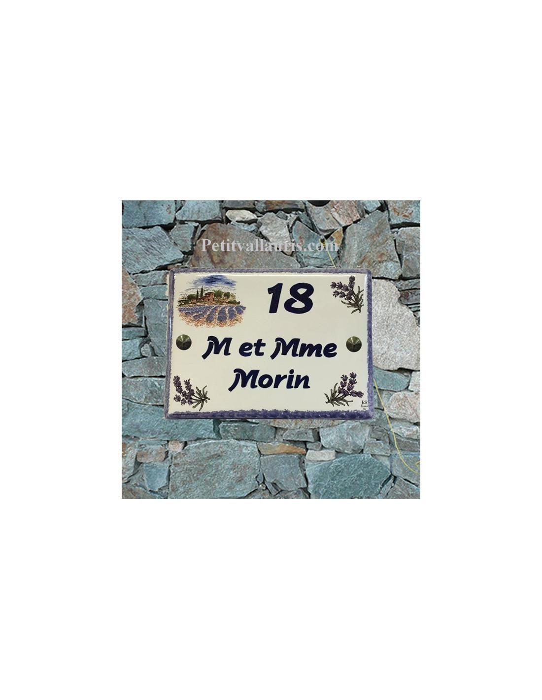 plaque signalitique pour habitation en c ramique d cor lavandes et bastide gravure nom et num ro. Black Bedroom Furniture Sets. Home Design Ideas
