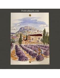 Petite Fresque céramique décor Bastidon et champs de lavandes