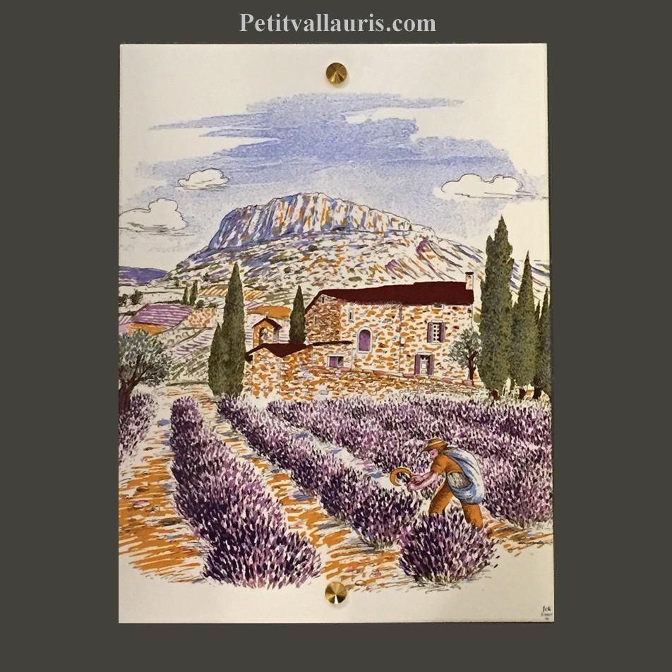 Petite fresque céramique décor calanque,cabanon et olivier   le ...