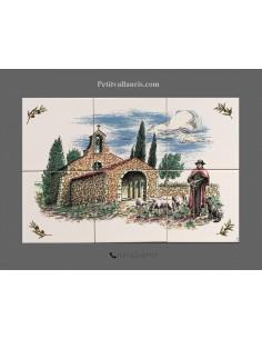 Fresque céramique rectangulaire décor chapelle et berger