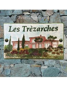 Plaque de maison Client décor villa d'après photo fournie par celui-ci
