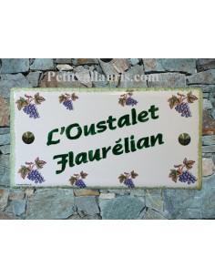 Plaque de Maison rectangle décor grappes de raisin + inscription personnalisée et bord vert