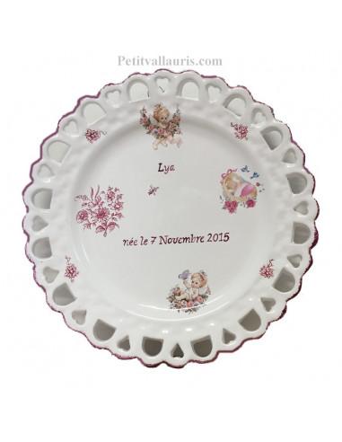 Assiette de souvenir de naissance modèle Tournesol décor chérubins