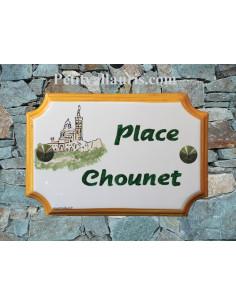 Plaque de Maison rectangle décor et texte personnalisés notre dame de la garde inscription verte et bord orangé