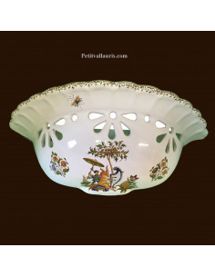 Applique cannelée ajourée décor Tradition Vieux Moustiers polychrome