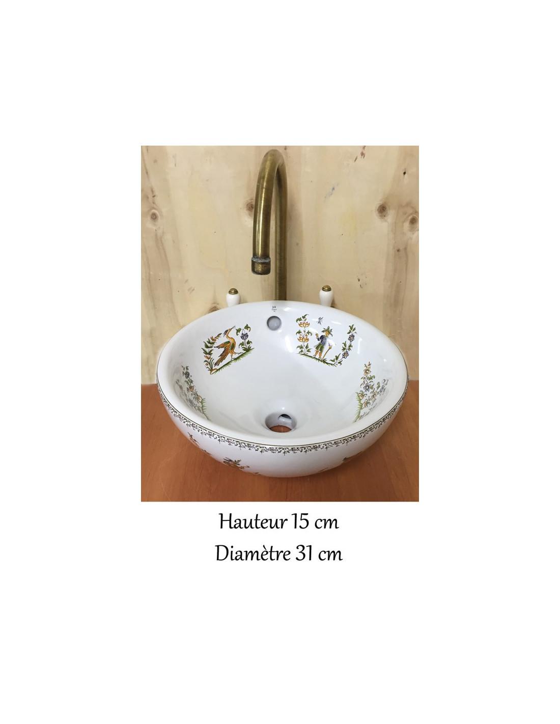 petite vasque bol ronde en porcelaine d cor tradition vieux moustiers polychrome le petit. Black Bedroom Furniture Sets. Home Design Ideas