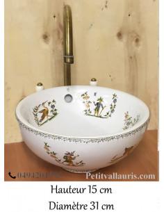 Petite Vasque bol ronde en porcelaine blanche reproduction décor Tradition Vieux Moustiers polychrome