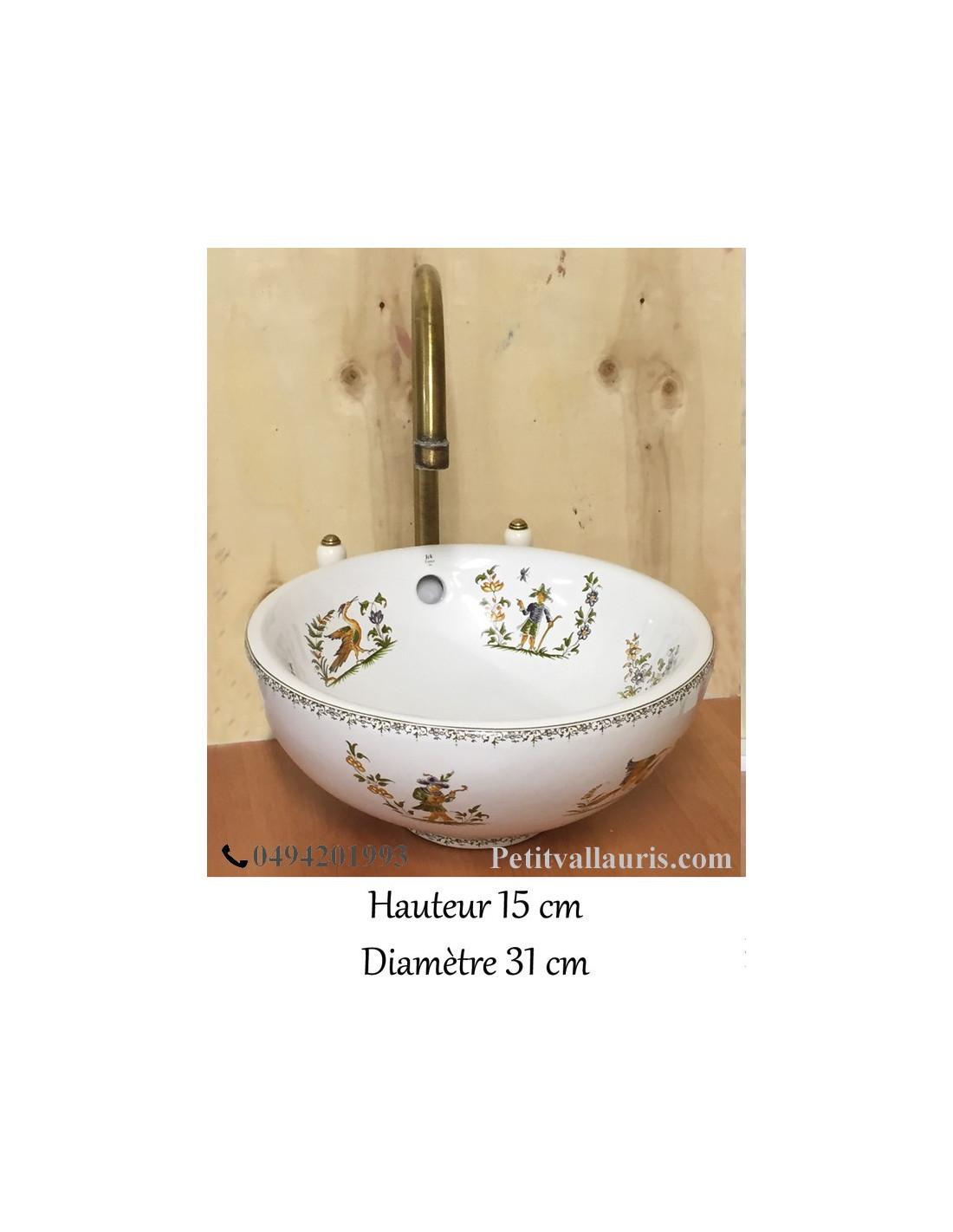 petite vasque bol ronde en porcelaine d cor tradition. Black Bedroom Furniture Sets. Home Design Ideas