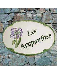 Plaque pour nom de maison ovale en céramique décor les Agapanthes + inscription personnalisée