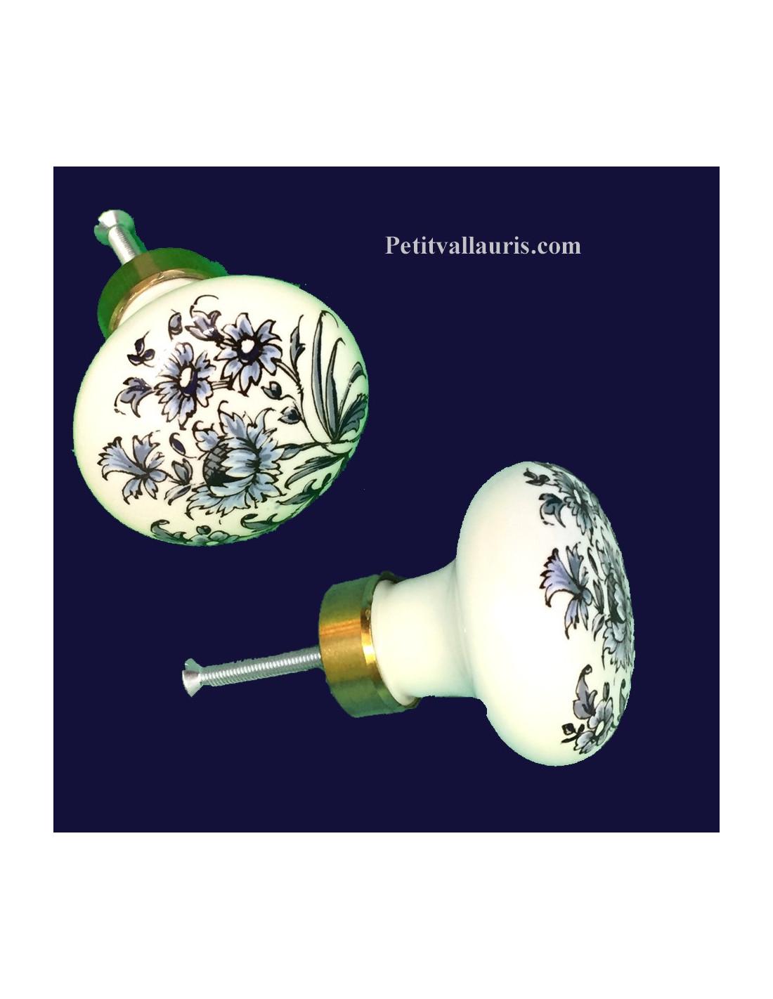 bouton de placard d cor tradition vieux moustiers bleu diam tre 50 mm le petit vallauris. Black Bedroom Furniture Sets. Home Design Ideas