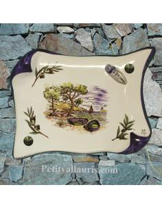 Plaque décorative de Maison parchemin décor calanque ,brins d'olives et cigale en relief