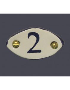 Médaillon céramique ovale bord et inscription verte