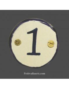 Médaillon céramique ronde bord et inscription verte