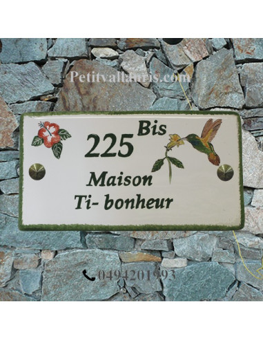 Plaque de Maison rectangle décor personnalisé colibri et hibiscus inscription verte