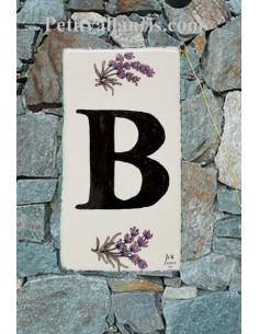 Plaque Lettre (B) au détail décor Brin de Lavande