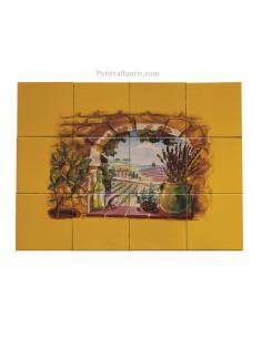 Fresque faïence Trompe L'oeil horizontal sur carreau 15x15 jaune décor Provençal