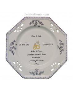 Assiette de Mariage octogonale décor tradition vieux moustiers bleu avec poème noces d'or
