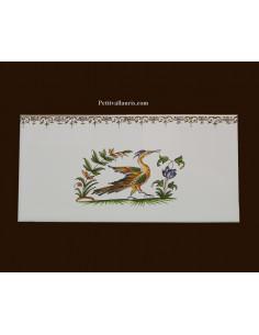 carrelage 10 x 20 en faience décor oiseau 2216 tradition vieux moustiers polychrome avec frise