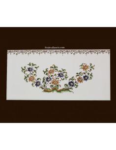 carrelage 10 x 20 en faience décor gros bouquet de fleurs tradition vieux moustiers polychrome avec frise