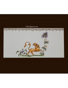 carrelage 10 x 20 en faience décor lion référence 2210 tradition vieux moustiers polychrome avec frise