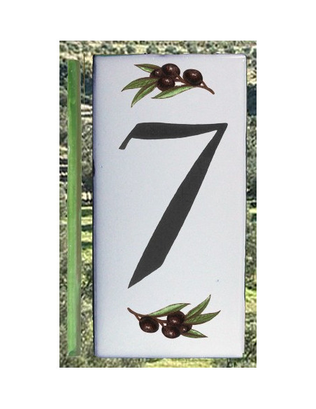 Numero de rue chiffre 7 décor brins d'olives