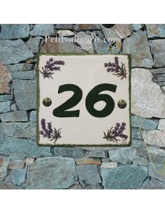 Numéro de Maison pose horizontale décor brins de lavandes chiffre vert