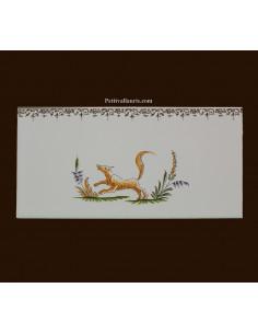 carrelage 10 x 20 en faience décor renard référence 2219 tradition vieux moustiers polychrome avec frise