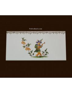 carrelage 10 x 20 en faience décor musicien référence 2211 tradition vieux moustiers polychrome avec frise