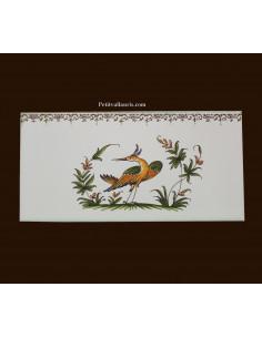carrelage 10 x 20 en faience décor oiseau référence 2215 tradition vieux moustiers polychrome avec frise