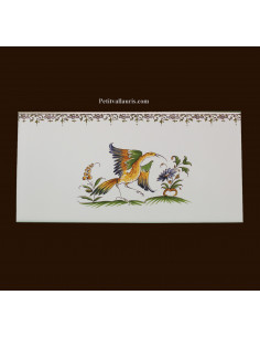 carrelage 10 x 20 en faience décor oiseau référence 2214 tradition vieux moustiers polychrome avec frise