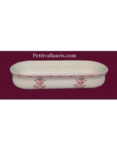 Porte crayon et maquillage Ovale décor Tradition Vieux Moustiers rose