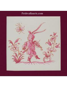 Motif sur carreau décor musicien (1982) Tradition Vieux Moustiers rose