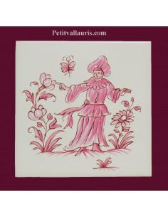 Motif sur carreau décor le poete (1985) Tradition Vieux Moustiers rose