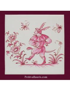 Motif sur carreau décor le guerrier (1986) Tradition Vieux Moustiers rose