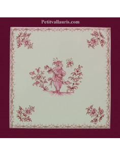 Carreau 20 x20 décor fleurs médium et motif central décor inspiration vieux moustiers bleu
