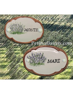 Plaque de porte décor lavande bord ocre inscription personnalisée