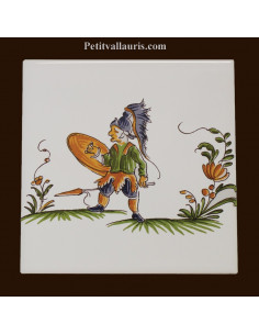 Carreau décor 2209 polychrome Tradition Vieux Moustiers