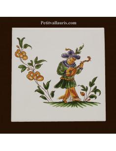 Carreau décor 2211 polychrome Tradition Vieux Moustiers