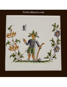Carreau décor 2212 polychrome Tradition Vieux Moustiers