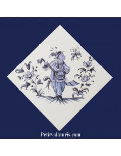 Carreau décor grotesque Tradition Vieux Moustiers bleu ref 5196