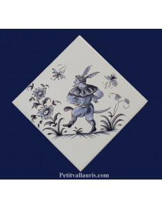 Carreau décor grotesque Tradition Vieux Moustiers bleu ref 5198