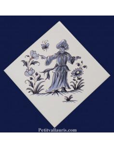 Carreau décor grotesque Tradition Vieux Moustiers bleu ref 5194