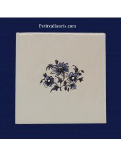 Carreau fleur médium polychrome décor Tradition Vieux Moustiers